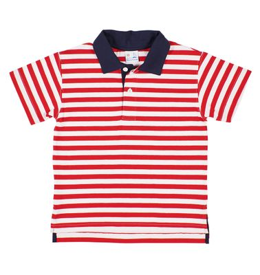 Florence Eiseman Boys Red / White Stripe Polo Shirt - Navy Blue Collar