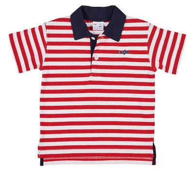 Florence Eiseman Boys Red / White Stripe Polo Shirt - Navy Blue Collar - Embroidered Fish
