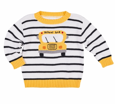 Florence Eiseman Boys White / Black Stripe Sweater - Intarsia Yellow School Bus