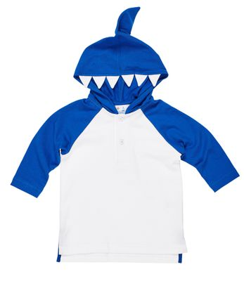 Florence Eiseman Boys White / Blue Cover Up - Shark Teeth Hood