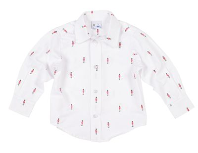 Florence Eiseman Boys White Nutcracker Soldier Print Shirt