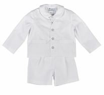 Florence Eiseman Boys White Pique 3 Piece Eton Suit