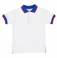 Florence Eiseman Boys White Polo Shirt - Blue Collar - Seersucker Placket