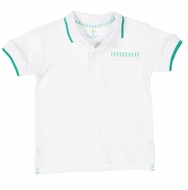 Florence Eiseman Boys White Polo Shirt - Green Seersucker Trim