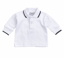 Florence Eiseman Boys White Polo Shirt - Long Sleeves - Tipped in Black