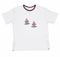Florence Eiseman Boys White Shirt -  Navy Blue / Red Sailboats