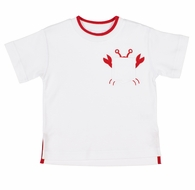 Florence Eiseman Boys White Shirt - Red Tipping & Crab in Pocket