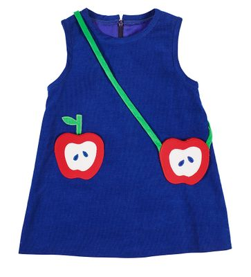 Florence Eiseman Girls Apple Jacks Royal Blue Corduroy Jumper Dress - Apple Pocket & Purse