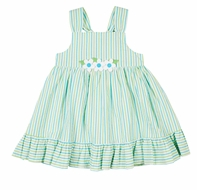 Florence Eiseman Girls Aqua / Lime Green Stripe Seersucker Sun Dress