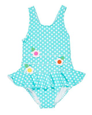 Florence Eiseman Girls Aqua Polka Dots Ruffle Swimsuit with Flowers