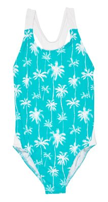 Florence Eiseman Girls Aqua / White Palm Tree Print Cross Back Swimsuit