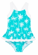 Florence Eiseman Girls Aqua / White Palm Tree Print Ruffle Swimsuit
