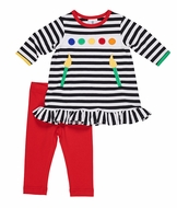 Florence Eiseman Girls Black Striped Knit Paint Artist Palette Tunic Top with Red Leggings