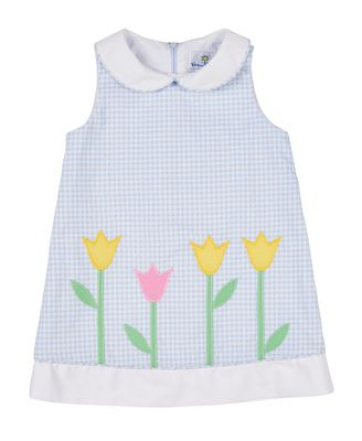 Florence Eiseman Girls Blue Check Pique Dress with Tulips