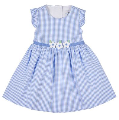 Florence Eiseman Girls Blue Check Seersucker Lap Back Dress
