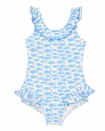 Florence Eiseman Girls Blue Fish Print Ruffle Swimsuit