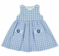 Florence Eiseman Girls Blue / Green Seersucker Dress - Flowers - Bow on Back