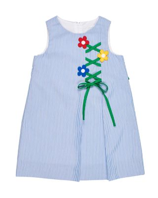 Florence Eiseman Girls Blue Junior Pincord Dress  - Flower Trellis