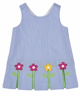 Florence Eiseman Girls Blue Pincord Flowers Sleeveless Dress