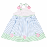 Florence Eiseman Girls Blue / Pink Pastels Seersucker Dress with Flowers