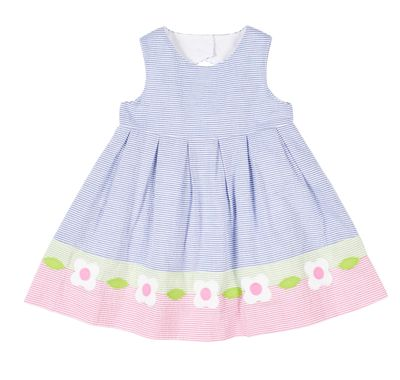 Florence Eiseman Girls Blue / Pink Seersucker Dress with Flowers