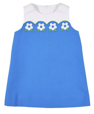 Florence Eiseman Girls Blue Pique Scallop Shift Dress