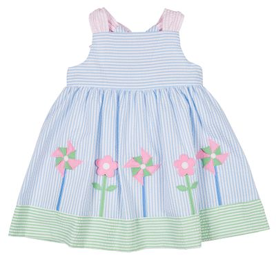 Florence Eiseman Girls Blue Seersucker Dress - Pinwheels & Flowers