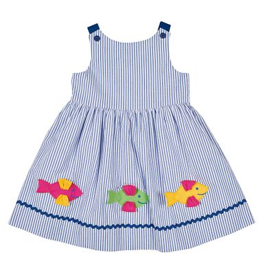 Florence Eiseman Girls Blue Seersucker Dress with Fish