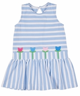 Florence Eiseman Girls Blue Stripe Knit Dress - Tulips
