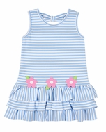 Florence Eiseman Girls Blue Stripe Knit Ruffle Dress with Pink Flowers