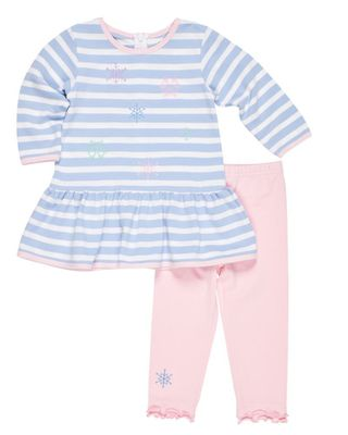 Florence Eiseman Girls Blue Stripe Pique Snowflake Dress with Pink Leggings