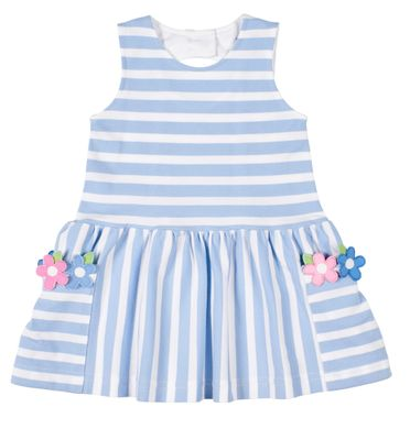 Florence Eiseman Girls Blue Stripe Pique Dress with Flowers