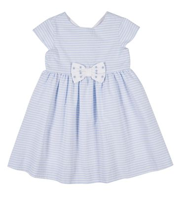 Florence Eiseman Girls Blue Striped Cap Sleeve Dress with Bow