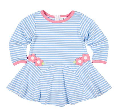 Florence Eiseman Girls Blue Striped Knit Dress - Pink Flowers