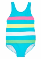 Florence Eiseman Girls Blue Tank Swimsuit with Color Bands