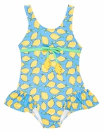 Florence Eiseman Girls Blue / Yellow Lemons Ruffle Swimsuit