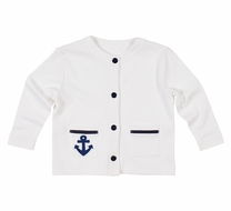 Florence Eiseman Girls / Boys White Cardigan Sweater - Navy Blue Buttons & Anchor