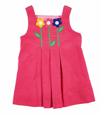Florence Eiseman Girls Bright Pink Corduroy Jumper Dress with Flowers