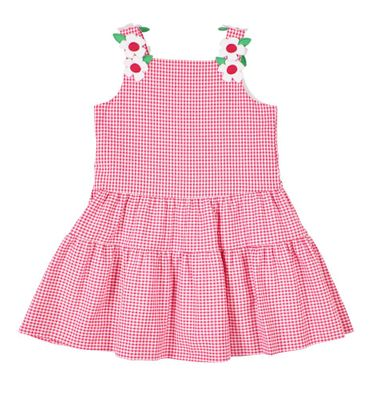 Florence Eiseman Girls Cerise Check Seersucker Tiered Twirl Dress - Flower Straps