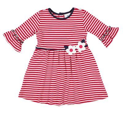 Florence Eiseman Girls Cerise Striped Knit Dress - Bell Sleeves