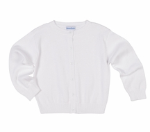 Florence Eiseman Girls Classic Cotton Cardigan Sweater - White