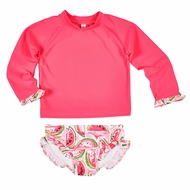 Florence Eiseman Girls Coral Pink Watermelon Print Swimsuit Rash Guard Set