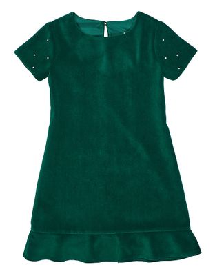Florence Eiseman Girls Emerald Green Velvet Holiday Party Dress with Pearls