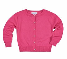 Florence Eiseman Girls Cotton Cardigan Sweater - Fuchsia Hot Pink