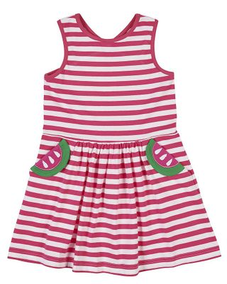 Florence Eiseman Girls Fuchsia Pink Stripe Knit Dress - Watermelon Pockets