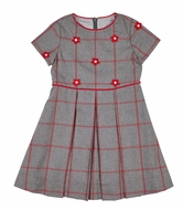 Florence Eiseman Girls Gray / Red Windowpane Tattersall Dress with Flowers