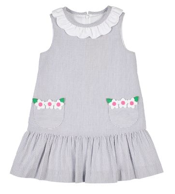 Florence Eiseman Girls Sleeveless Gray Seersucker Dress - Flower Pockets