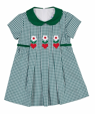 Florence Eiseman Girls Green Check Dress with Hearts and Flowers