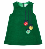 Florence Eiseman Girls Green Corduroy Jumper Dress - Christmas Ornaments