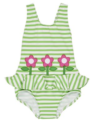 Florence Eiseman Girls Green Stripe Ruffle Swimsuit with Pink Flowers